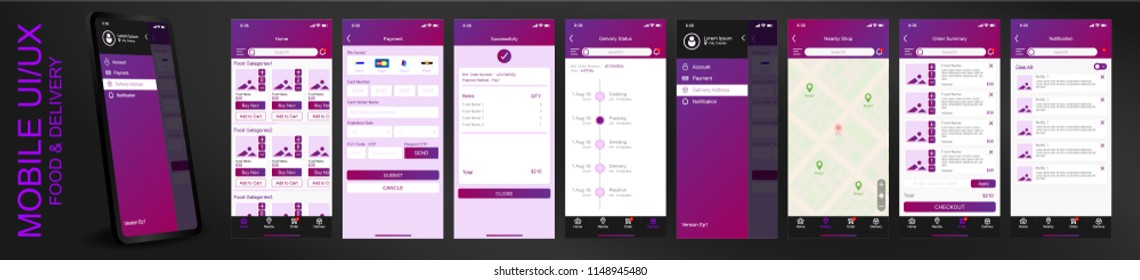 Mobile app UI, UX materials user interface with screens of food menu, payment, map, delivery status, setting, notification and search. Dark Purple theme color. Vector EPS10 template.