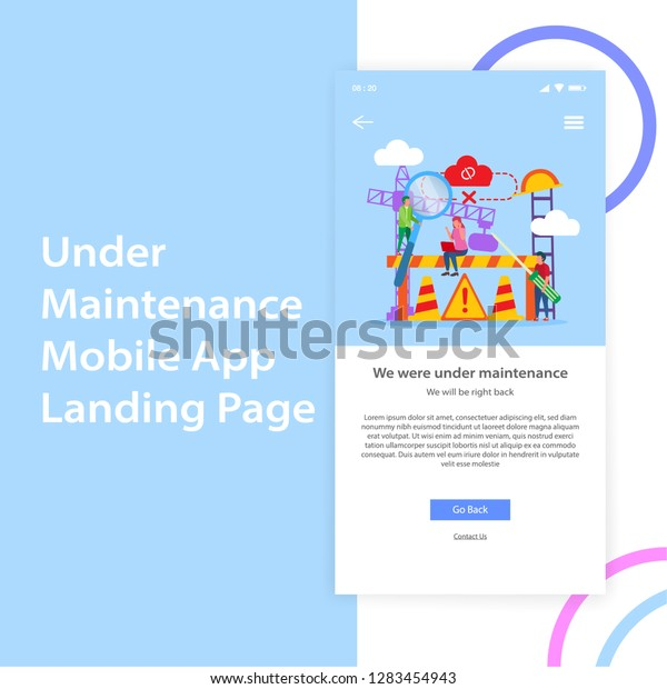 Mobile App Under Maintenance Landing Page Stock Vector Royalty Free 1283454943