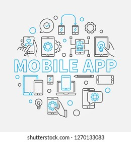 Mobile App vector concept circular illustration made of smart phone and computer outline icons