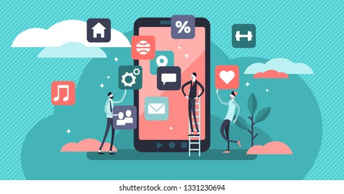 Mobile app vector illustration. Flat tiny phone application persons concept. Digital device software creation, programming and development. IT engineers coding and pictogram design teamwork process.