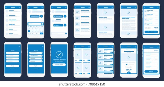 Mobile App Wire frame UI Kit. Detailed wire frame for quick prototyping. Set of mobile concept screens design mock-up. Big Vector set of mobile screens.