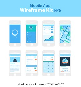 Mobile App Wireframe Ui Kit ?5. Loading screen, sidebar screen, stocks screen, map screen, article screen, settings screen, converter screen, music player screen, mobile phone and devices screens.