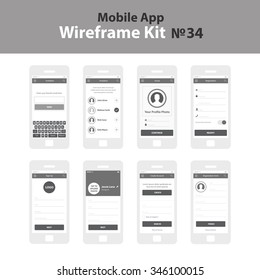 Mobile App Wireframe UI Kit 34. Invitation screen, social screen, registration screen, sign up screen, create account screen, registration form screen.