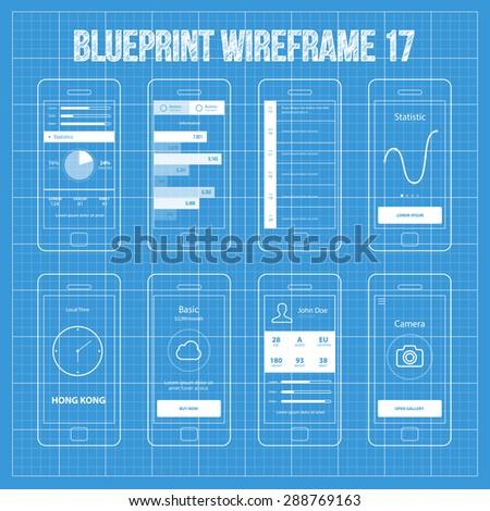 Mobile app wireframe ui kit 17 statistics stock vector royalty free mobile app wireframe ui kit 17atistics screen information screen timeline screen malvernweather Choice Image