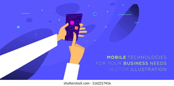 Mobile application development concept illustration with freelance programmer and mobile phone. Eps10 vector