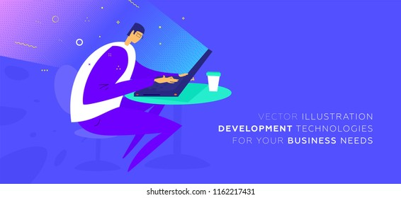 Mobile application development concept illustration with freelance programmer and laptop. Eps10 vector