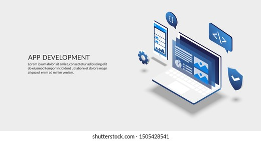 Mobile application development concept, isometric user interface design