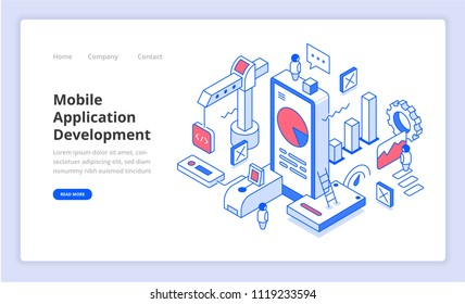 Mobile application development isometric composition. Concept of building mobile apps for web banner, hero image, landing page template