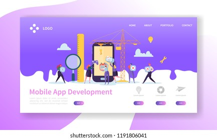 Mobile Application Development Landing Page. Coding Technology with Flat People Characters Website Template. Vector illustration