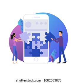 Mobile application development process flat vector illustration. Software API prototyping and testing background. Smartphone interface building process, mobile app building concept.