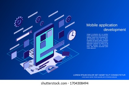 Mobile application development, program coding flat 3d isometric vector concept illustration