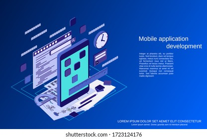 Mobile application development, program coding flat 3d isometric vector concept illustration