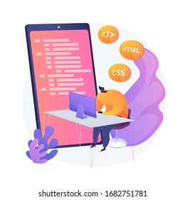 Mobile application development. Programming languages. CSS, HTML, IT, UI. Male programmeer cartoon character developing website, coding. Vector isolated concept metaphor illustration