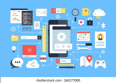 Mobile application development, smartphone app programming. Flat design style modern vector illustration.