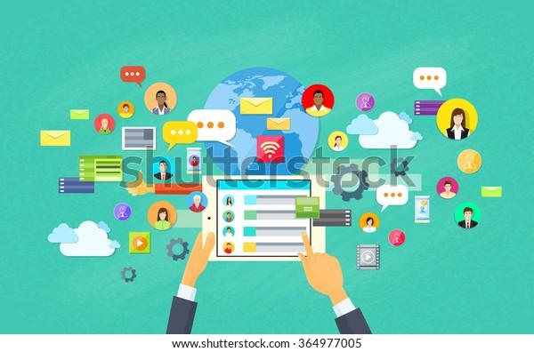 Mobile Application Development, Tablet App Programming Vector Illustration