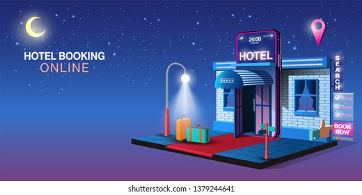 Mobile Application, Hotel Booking Online on Website, Vector Concept