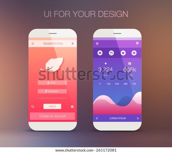 Mobile Application Interface Design Stock Vector (Royalty Free