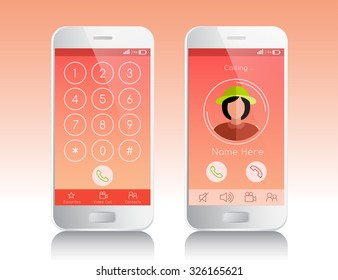 Mobile Application Interface : Keypad And Calling Theme : Vector Illustration