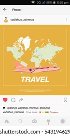 Mobile application and plane flying over the world map. Flat vector illustration on the topic of tourism.