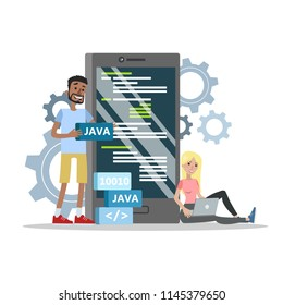 Mobile application programming. App production and web development process. Modern technology concept. Isolated flat vector illustration