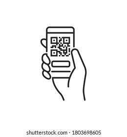 Mobile application, QR code scanning in smartphone black line icon. City transport rental. Pictogram for web, mobile app, promo. UI UX design element