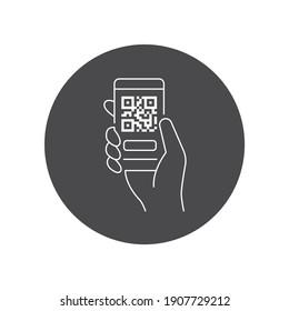 Mobile application, QR code scanning in smartphone black glyph icon. City transport rental. Pictogram for web, mobile app, promo.