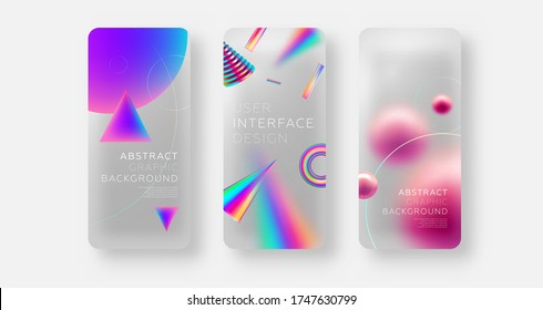 Mobile application screen page backgrounds set with plastic transparent effect and neon color iridescent shapes and elements. User interface app template. Eps10 vector.