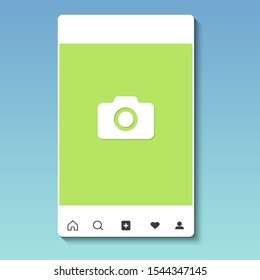 Mobile application with tile photo template. Color photo frame for social networking mobile device isolated on a light background. Vector illustration