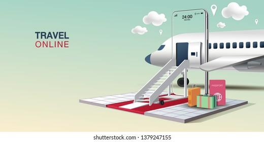Mobile Application, Travel Online on Website, Vector Concept