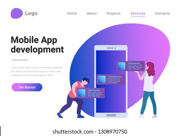 Mobile Application Web Design and Development Flat style landing page banner vector illustration. Man and woman place app blocks on huge smartphone display.