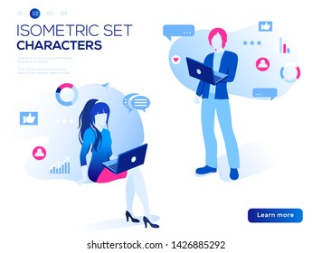 Mobile application and website header images on white background. 3D people work Isometric set.  Interacting with graphs, icons and devices. Data analysis and office situations vector illustration.