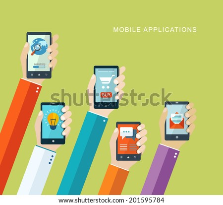 Mobile applications concept. Hand with phones flat illustration. eps10