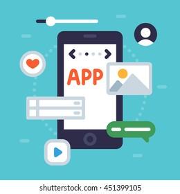 Mobile applications design concept. Simple vector flat illustration