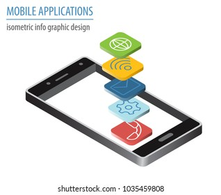 Mobile applications technology isometric collection. Software development and installation. Vector illustration