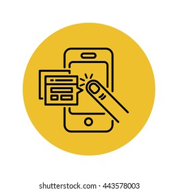 Mobile applications vector line icon