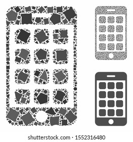 Mobile apps composition of uneven items in different sizes and color hues, based on mobile apps icon. Vector uneven items are grouped into collage. Mobile apps icons collage with dotted pattern.