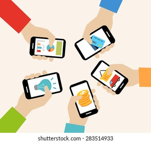 Mobile apps concept - social networking, online business, communication.