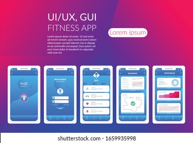 Mobile apps design Unique, Different UI, UX, Fitness app screens. Flat web icons. Mobile  responsive apps, website including. Web design and mobile template. Interface design, mobile application.