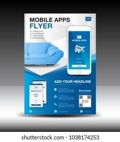Mobile Apps Flyer template. Business brochure flyer design layout. smartphone icon mockup. application presentation. furniture magazine ads. Blue cover. poster. leaflet. advertisement. in A4