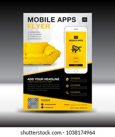 Mobile Apps Flyer template. Business brochure flyer design layout. smartphone icon mockup. application presentation. furniture magazine ads. Yellow cover. poster. leaflet. advertisement. in A4