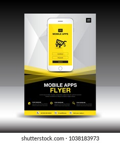 Mobile Apps Flyer template. Business brochure flyer design layout. smartphone icon mockup. application presentation. Magazine ads. Yellow cover. poster. leaflet. advertisement.  Vector. in A4