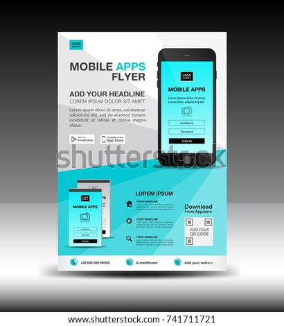 mobile apps flyer template business brochure のベクター画像素材