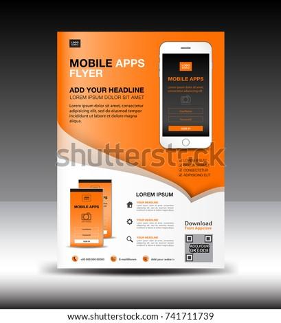 mobile apps flyer template business brochure のベクター画像素材