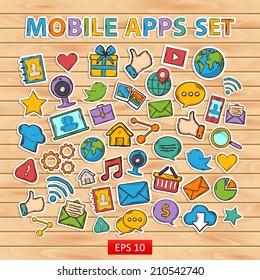 Mobile apps scrap set.Scrapbook set.Sticker.