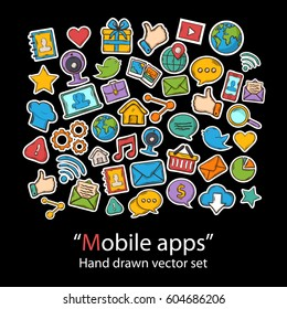 Mobile Apps.Scrapbook.Fashion patch badges collection.Vector Technology Apps  hand draw set on a  background.Pins,stickers, patches in doddle style.Trend.Vector illustration isolated.Vector clip art.