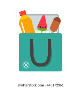 mobile bag refrigerator with ice-cream and juice flat vector illustration isolate on a white background