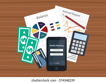 Mobile bank concept. Personal account and statements. Balance and payments. Flat vector illustration