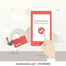 mobile bank vector illustration