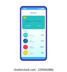 Mobile banking account interface template. Online payment. Smartphone app page design layout. Credit card transaction. E-payment screen. Flat UI for application. Phone display payment options