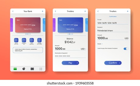 Mobile banking app interface. Online bank in smartphone. Payment screen. Debit and Credit card in application. Online wallet mock up. Vector illustration design.